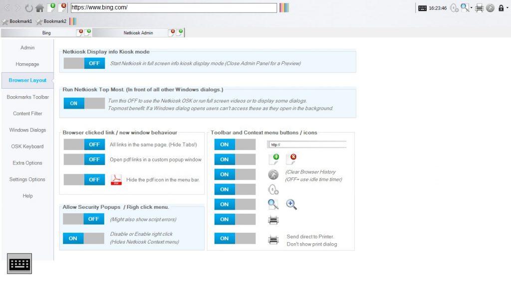 Netkiosk Standard Browser layout
