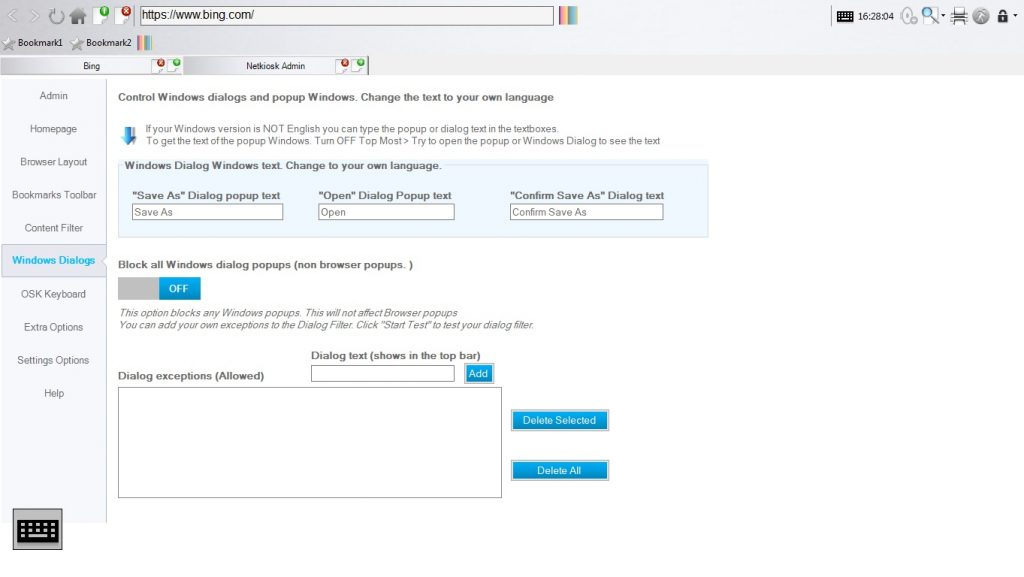 Netkiosk Standard admin panel Windows dialogs