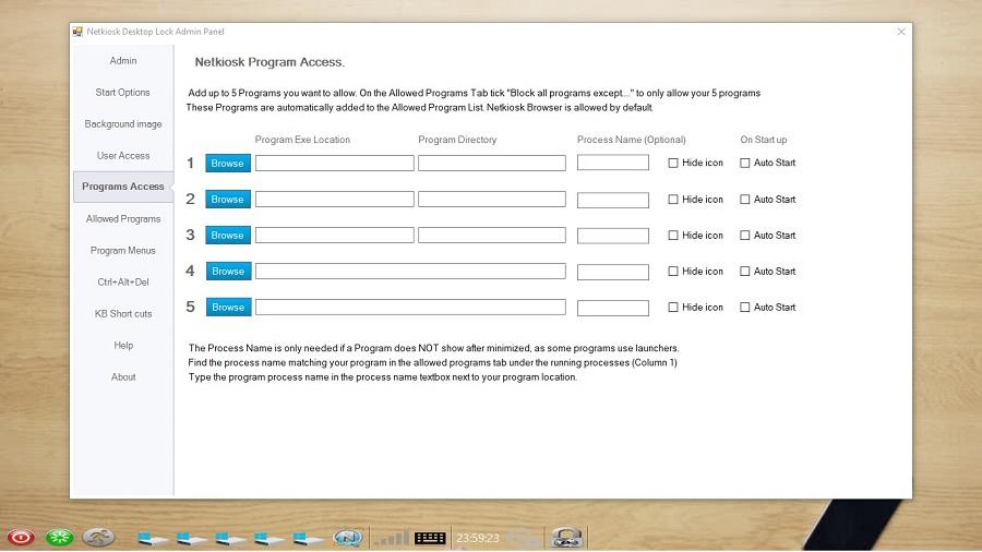 Netkiosk Desktop Lock. restrict program access